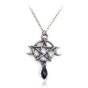 Sobrenatural pentagrama moon colar black crystal pingente proteção da bruxa estrela amuleto para as mulheres charme jóias acessórios presente
