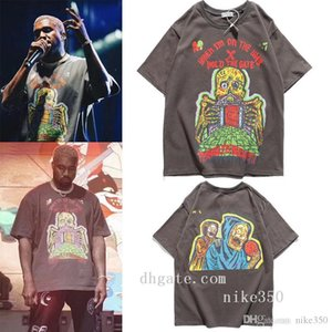 Kanye Мужская рубашка Summer Tops повседневные футболки для мужчин Женщины с коротким рукавом рубашки Марка одежды Письмо с печатным рисунком тройников шеи