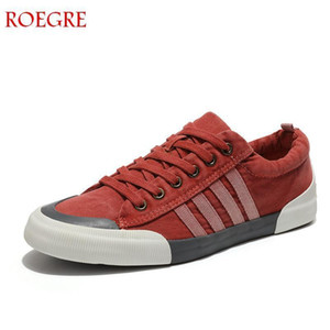 Roegre Canvas Men Casual Breathable Wear-resistant Comfortable Round Toe Lace-up Flat Shoes Zapatos Hombre