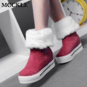 MCCKLE женщина зимы снег сапоги Высота Увеличение голеностопного Загрузочная Женская теплая искусственный мех Короткие пинетки Повседневный скольжению на обуви