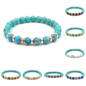 Pretty natural stones beads bracelet elegant tiger eyes green blue emperor imperial stone bracelet men vintage boho Turquoises Bracelets