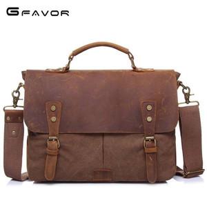 Nuovo arriva la pelle Crazy Horse Bag Man Mens Shoulder Bag Messenger Bag mano della tela di canapa Mens portatile Retro spedizione gratuita