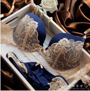 Roupa íntima de marca Underwear Mulheres Sutiãs B C Conjunto Copo Lingerie Com Breve Lingerie Sexy Lace Half Cup Bordado Conjuntos de Sutiã Bowknot Bras