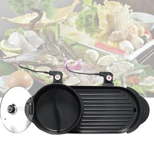 2020 2 in 1 Elektro Hot Pot Ofen Multi Cooker Grill Pan Smokeless Barbecue Grill Non-Stick Shabu Pot Hotpot Backblech