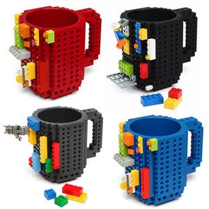 Build-On 벽돌 찻잔 Drinkware 빌딩 블록 컵 크리 에이 티브 블록 퍼즐 머그잔 물병 커피 컵 바 주방 텀블러 GGA2486