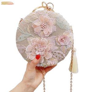 New Tassel Evening Dress Clutch Bag Embroidery Flower Round Evening Velvet Bag Wallet Day Wedding Handbag