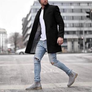 Manches longues pour hommes Blends Casual vêtement avec Bouton Hommes Vêtements d'hiver de luxe pour hommes Manteaux de créateurs mode Lapel Long Neck