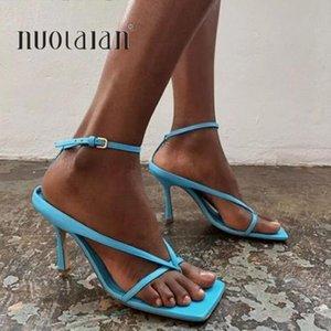 2020 Summer Sandales de talons hauts automnes meilleurs rue Regard femelles à tête carrée bout ouvert clip-femmes Sandales à lacets
