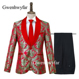 Gwenhwyfar 2020 nouveaux costumes Conçu Rouge Hommes Slim Fit Corne Jacquard Smokings Groom meilleure soirée de mariage ensembles de costume de bal (Blazer + pantalon)
