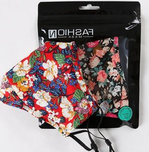 Floral Print Mask with Breathing Valve Cotton Breathable Mouth Masks PM2.5 Anti Dust Mask Reusable Protective Face Cover GGA3418-3