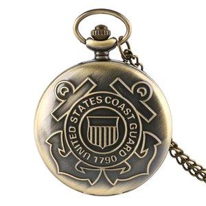 Vintage Retro Quartz Pocket Watch United States Coast Guard 1790 Navy Design Men Boy Necklace Chain Clock reloj de bolsillo