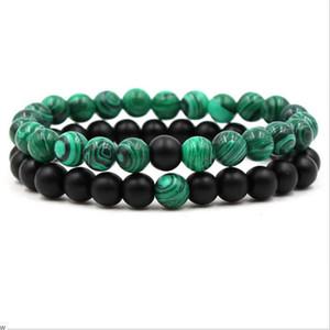 Malachite 8mm nero opaco onice verde, pietra preziosa, braccialetto elastico, il braccialetto in rilievo Good Luck Bracciale
