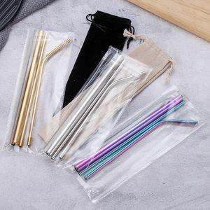 Aço inoxidável palha Set Titânio banhado metal colorido 304 cores Hetero Bebida Cachimbo Dobre Giveaway Straw Personalização EEA1249-6