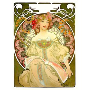 Hand painted Beautiful woman Obraz Alphonse Mucha paintings canvas artwork for office wall decor