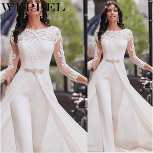 WEPBEL Весна элегантный перспектива с длинным рукавом белый комбинезон поддельные две женщины сплошной цвет кружева комбинезоны