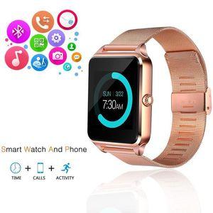 Telefone Suporte pulseira de aço Z60 Bluetooth relógio inteligente inoxidável Smart SIM TF câmera de Fitness Rastreador Smartwatch For Men IOS Android