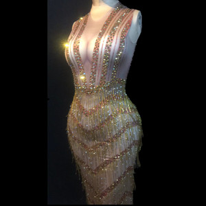Donne Sexy Stage di usura Bling Abito lungo nappa dell'oro cristalli scintillanti costumi di trasporto locale notturno festa di nozze di ballo della fase libero