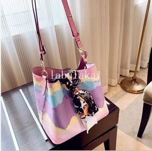 2020 сумки мешки плеча кожи ведро мешок женщин цветка печатания Crossbody сумки кошелек 3 цвета с шарфом
