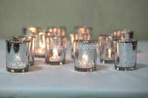 12pcs superbes bougeoirs en verre au mercure scintillant et doré / supports à votres / bougies chauffe-plat