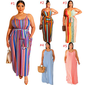 Plus Size Women Slip Dress Striped Print Maxi Dresses Spaghetti Strap Backless Long Dress Sleeveless One-piece Skirt Casual Beach Dress INS