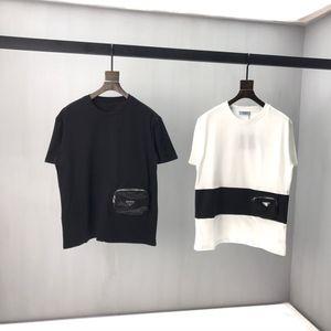 Principios de la primavera 2020 nuevo color bloque letra logo manga corta Camiseta doble hebra fina tela de algodón blanco y negro ok13