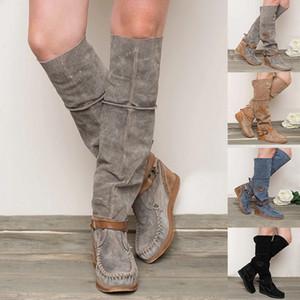 As mulheres agradáveis Botas Moda agradável sobre o joelho botas Mulher Sólidos longo Calçados Femininos salto baixo Tassel Meninas