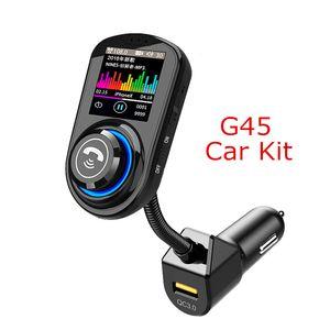 G45 Bluetooth-Freisprecheinrichtung Car Kit mit QC3.0 USB-Anschluss Ladegerät FM Transmitter Unterstützungs-TF-Karte MP3-Musik-Player VS BC06 T10 T11 X5 G7 Car Kit