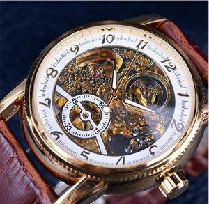 2020 Forsining Marka Lüks Hollow Gravür İskelet Casual Tasarımcı Siyah Altın Vaka Dişli Bezel Saatler Erkekler Otomatik Saatler