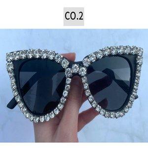 Crystal diamond glasses black Fashion Crystal Diamond Oversize Sunglasses Womens 2019 Brand Plastic Big Frame Sun Glasses Vintage zPobZ sKwA