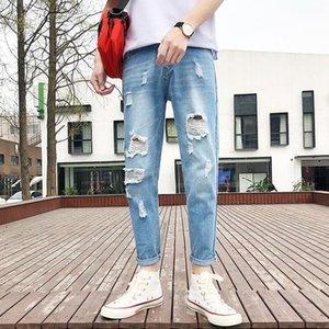 Fairy2019 Xia Frühling Xinkuan Man Holes Nine Jeans Bound Feet Baby Blue Beggar Selbst Anbau Trend Persönlichkeit 9 Teil Hosen