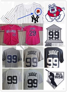 Mens NCAA Fresno State Bulldogs Aaron Judge Baseball jersey Stitched NY Lest We Forget #99 Aaron Judge Courthouse Judgement Day Patch Jersey