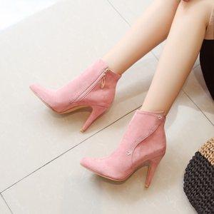 Botas de tamaño grande para mujer zapatos tobillo para mujer mujer invierno taladro hidráulico lateral cremallera
