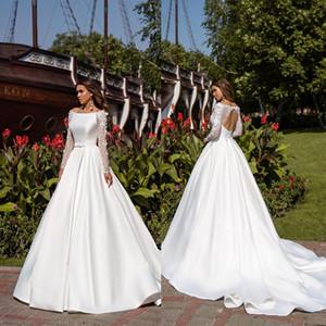 2020 Bohemian nupcial Dresses Bateau Neck Appliqued mangas compridas vestido de casamento Open Back Bow Sash Sweep Trem Custom Made Robes De Mariée
