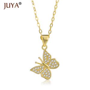 Сияющий ювелирные изделия Циркон Rhinestone Прекрасные бабочки кулон ожерелье для женщин девушок ожерелье насекомых Подвески цепи колье