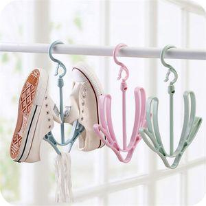 2 Sapatos Ganchos de secagem sapatos rack de suspensão armazenamento prateleira Cavalete Household Windproof Shoe Dry rack stand Hanger 3 cores DBC BH3476
