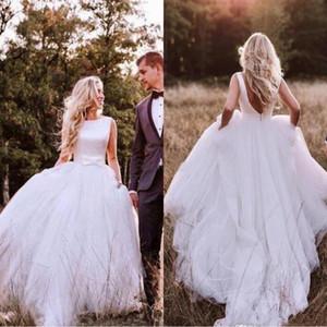 Abiti da sposa economici A-Line in raso stile occidentale 2019 Bohemian Simple Backless Tulle Skirt Abito da sposa Plus Size con Bow robe de marriage
