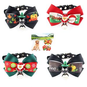 Cute Pet Dog De Noël Décoration Toilettage Grand Ruban Bowknot Collier Réglable Avec Cloche Pour Chats Chiens Accessoires