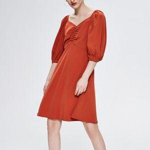 2020 New Französisch Vintage-Quadrat-Kragen Fest Mini-Sommer-Kleid-Knopf Reich PUFFÄRMELN A-Line-elegante Partei-Kleid-Frauen
