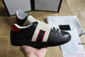 Hot Designer Brand Casual Shoes Ace green blue red stripe bee tiger snake tennis unisex sneaker for men women big size 34-46