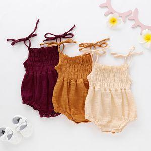 Infantil Bebê Crianças Menina Macacão Romper Bodysuit Algodão Roupas de Verão Roupas