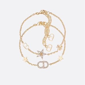 Fashion Jewelry new design Bracelet Seiko high version new two piece Bracelet Pentagram lady gold letter Diamond Bracelet