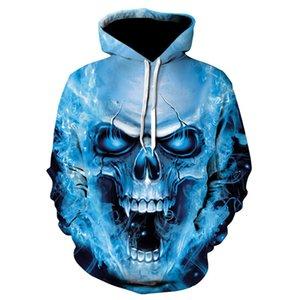 Wsryxxsc printemps et en automne 2020 Sweat à capuche Homme Mode 3D confortable Tendance imprimé crâne manches longues Casual capuche