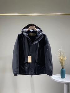 2020 نمط رجل إمرأة الشتاء معاطف 2 الألوان أسفل ستر مضلع كم طويل مقنع سترات معطف B104053D