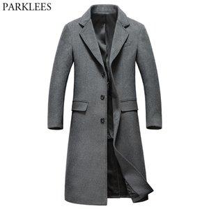 Extra Long Grey Wool Trench Coat Uomini 2018 Nuovo Inverno Mens misura sottile cachemire cappotto monopetto maschile cappotto Windbreaker