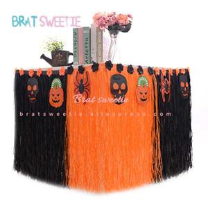 Decoração de Halloween pano de tabela de terror Início Preto Laranja Fontes do partido Dia das Bruxas favores Tabela saia do vestido
