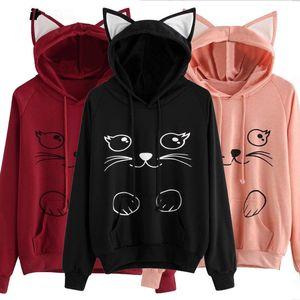 Femmes manches longues Sweat à capuche rose / noir / Vin rouge Pull à capuche Hauts Lady animaux Cat Imprimé oreille 3D à manches longues Sweats à capuche