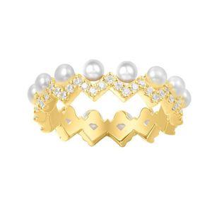 Blessing bag Zshaped pearl ring female gold light luxury index finger ring