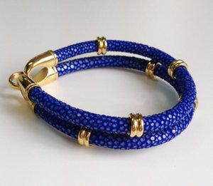 BC Fashion Design Charm Stingray Leather Bracelet Navy Blue 5mm Round Leather Bracelet Multilayer Leather Bracelet