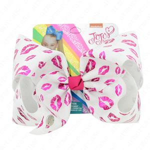 8 дюймов Девочка волос смычка Grosgrain лента клипа Hairbow Большого Bowknot Шпилька США нашивка радуга Bow волос Pin Дети волосы НАБОРЫ D6409