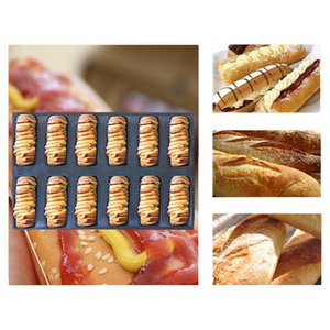 Meibum Glass Fiber Silicone Bread Mold Various Long Loaf Hot Dog Baguette Eclair Cookie Black Porous Mould Non Stick Baking Tool Y200618